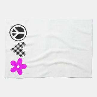 Peace Love and Flowers Tea Towel
