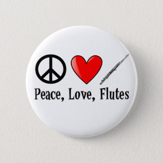 Peace, Love, and Flutes 6 Cm Round Badge