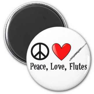 Peace, Love, and Flutes 6 Cm Round Magnet