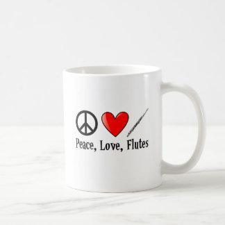 Peace, Love, and Flutes Basic White Mug