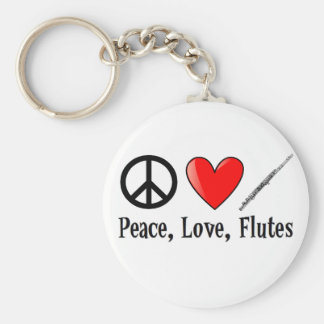 Peace, Love, and Flutes Key Ring