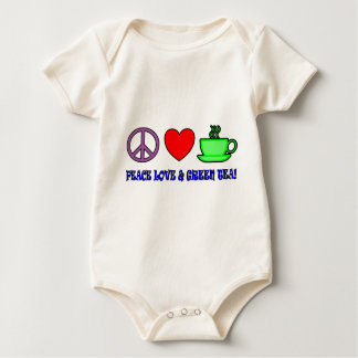 PEACE LOVE AND GREEN TEA TEXT AND IMAGE BRIGHTS BABY BODYSUIT