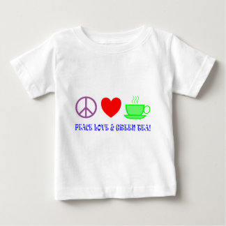 PEACE LOVE AND GREEN TEA TEXT AND IMAGE BRIGHTS BABY T-Shirt