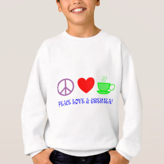 PEACE LOVE AND GREEN TEA TEXT AND IMAGE BRIGHTS SWEATSHIRT