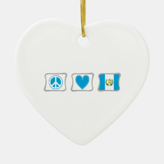 Peace Love and Guatemala Squares Christmas Ornament