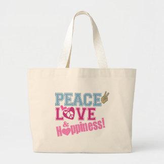 Peace Love and Happiness Jumbo Tote Bag