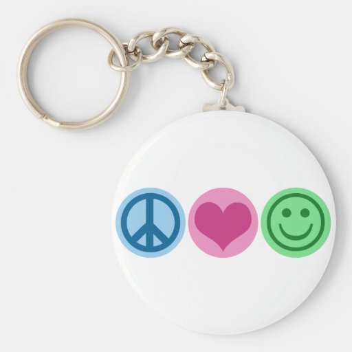 Peace Love and Happiness Basic Round Button Key Ring