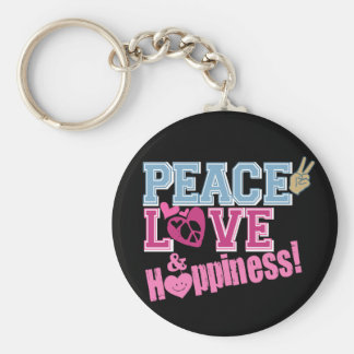 Peace Love and Happiness Keychains