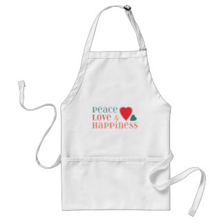 Peace Love and Happiness Saying Standard Apron