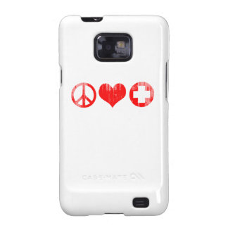 Peace Love and Health Care red Faded.png Galaxy S2 Cover