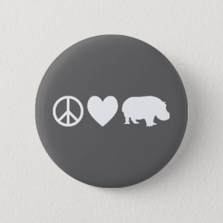 Peace Love and Hippos 6 Cm Round Badge
