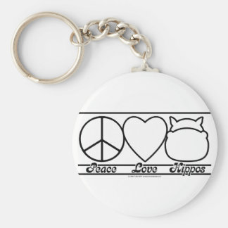 Peace Love and Hippos Basic Round Button Key Ring