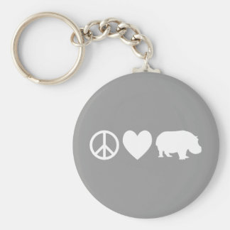 Peace Love and Hippos Key Ring