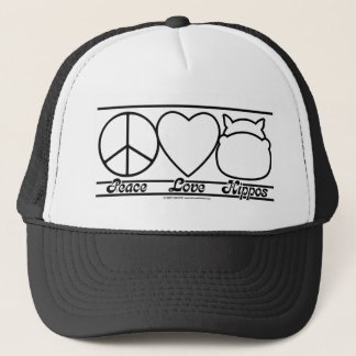 Peace Love and Hippos Trucker Hat