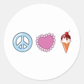 Peace Love and Ice Cream Round Sticker