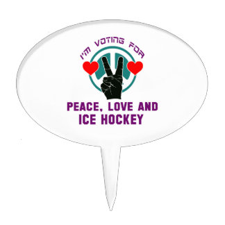 Peace Love And Ice Hockey. Cake Topper
