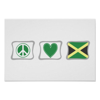 Peace Love and Jamaica Squares Poster
