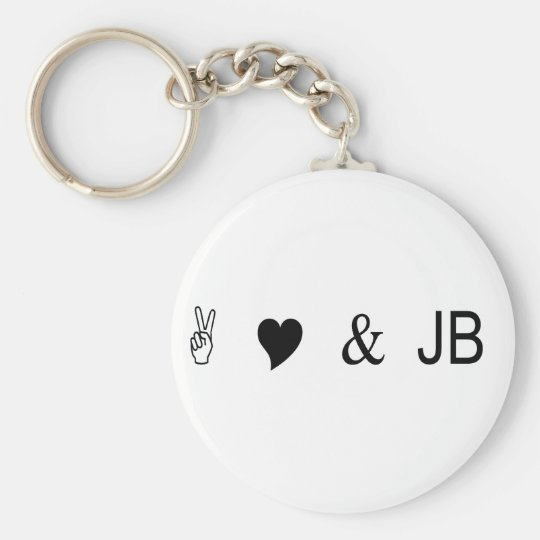 peace love and jb basic round button key ring