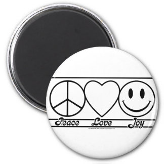 Peace Love and Joy 6 Cm Round Magnet