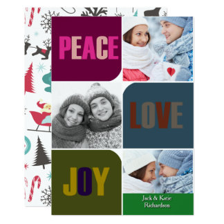 Peace Love and Joy Colorful Custom Christmas Card 13 Cm X 18 Cm Invitation Card