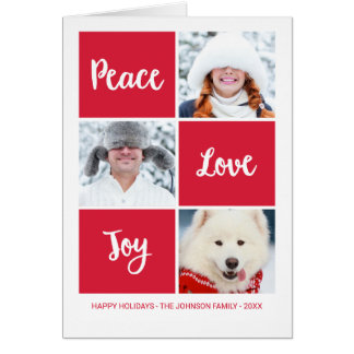 Peace Love and Joy   Custom Photo Holiday Card