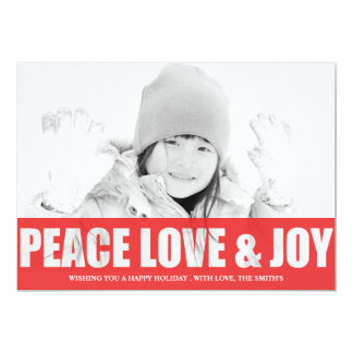 PEACE LOVE AND JOY  CUT OUT PHOTO CARD 13 CM X 18 CM INVITATION CARD