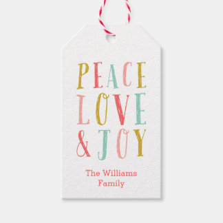 Peace Love and Joy Gift Tags