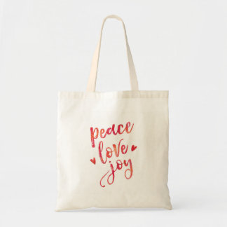 Peace Love and Joy hand lettered tote bag