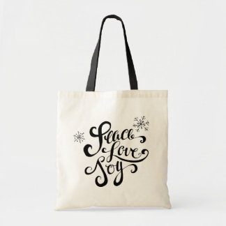 Peace, Love and Joy Rustic Typography Holiday Bag