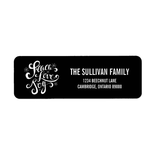Peace Love and Joy Script Holiday Address Label