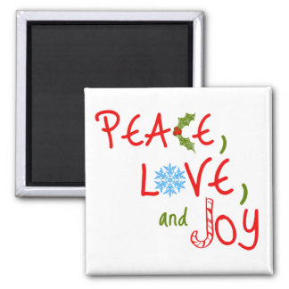 Peace, Love, and Joy Square Magnet