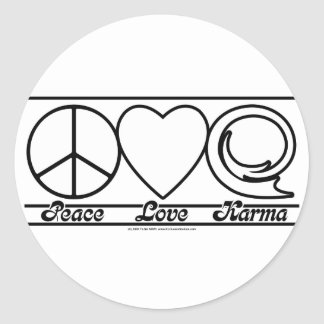 Peace Love and Karma Classic Round Sticker