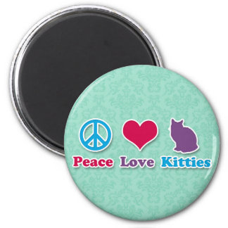 Peace, Love and Kitties 6 Cm Round Magnet
