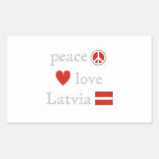Peace Love and Latvia Rectangular Sticker