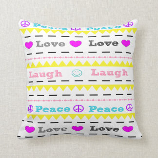 Peace Love and Laugh Modern Throw Pillow for Teens