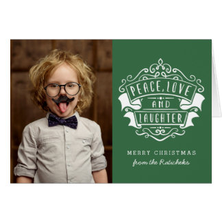 Peace, Love, and Laughter Christmas Greeting Card