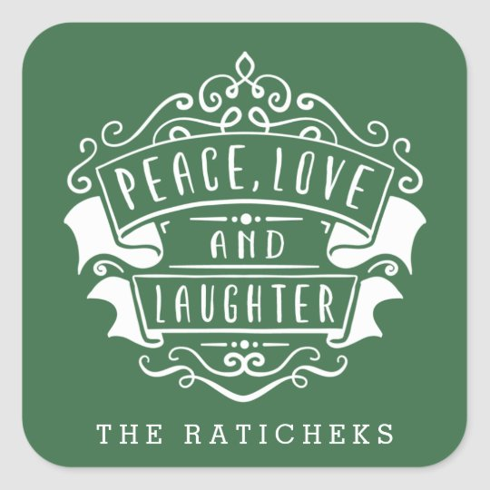 Peace, Love, and Laughter Stickers | Green