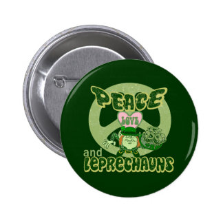 Peace Love and Leprechauns 6 Cm Round Badge
