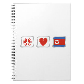 Peace Love and North Korea Squares Spiral Notebook