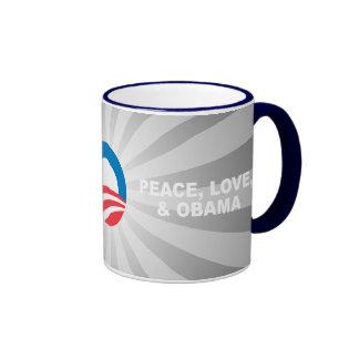 PEACE LOVE AND OBAMA COFFEE MUG
