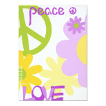 Peace, Love and Party - Blank Text 13 Cm X 18 Cm Invitation Card