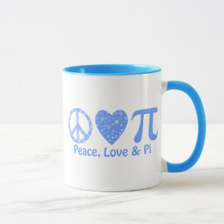 Peace, Love and Pi Blues Mug
