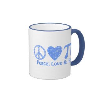 Peace, Love and Pi Blues Ringer Mug