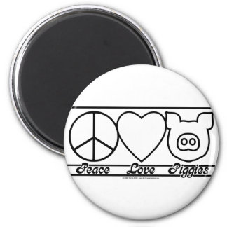 Peace Love and Piggies 6 Cm Round Magnet
