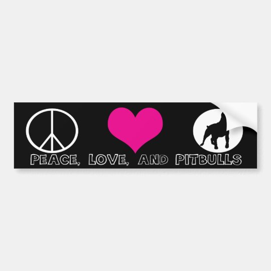 Peace, Love, and Pit Bulls Bumper Sticker