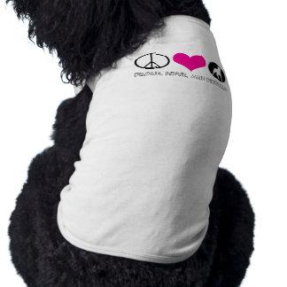 Peace, Love, and Pitbulls Doggy T Sleeveless Dog Shirt