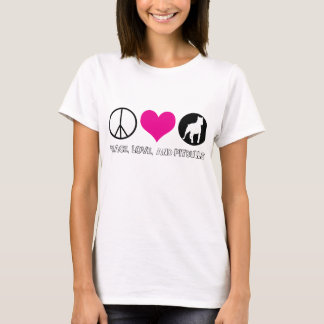 Peace, Love, and Pitbulls Ladies T-shirt