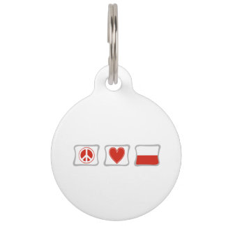 Peace Love and Poland Squares Pet ID Tag