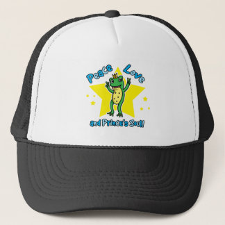 Peace love and Princes' soul frog prince Trucker Hat