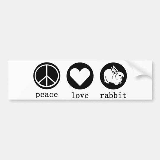 peace love and rabbit bumper sticker
